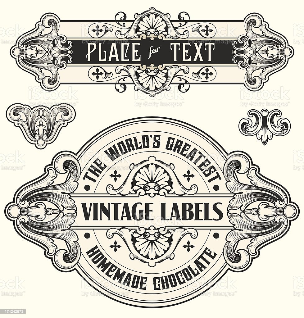 customizable vintage Scrollwork Text Banners royalty-free stock vector art