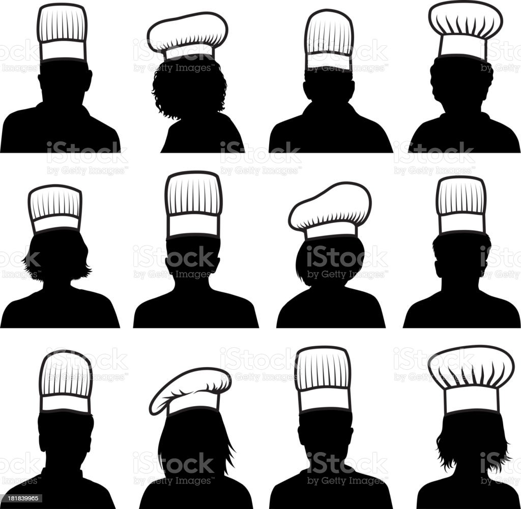 Customized Faces Chef Concept black & white vector icon set royalty-free stock vector art