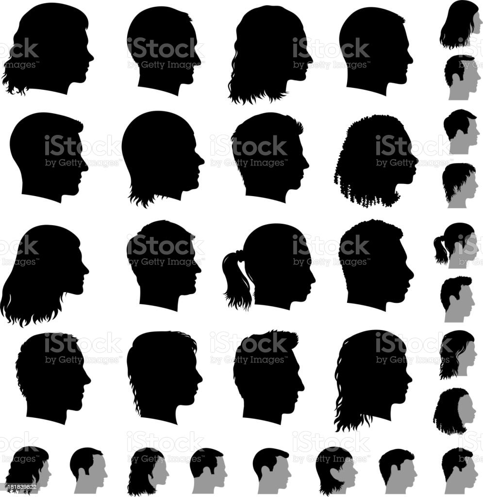 Customized Profile of Faces black & white vector icon set vector art illustration