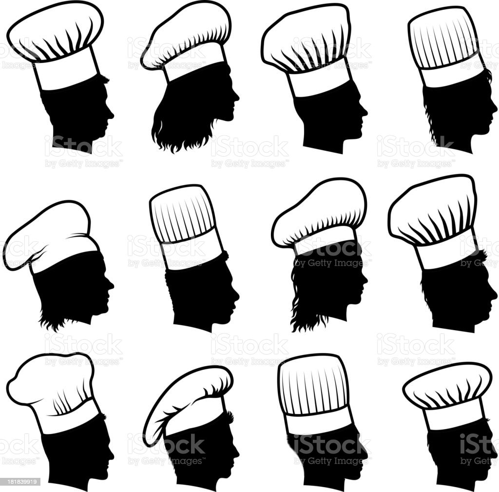 Customized Profile of Faces Chef Concept black & white icons vector art illustration