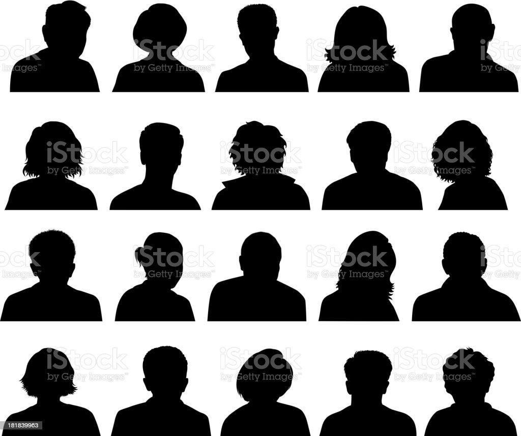 Customized Silhouette Human Faces black & white vector icon set vector art illustration