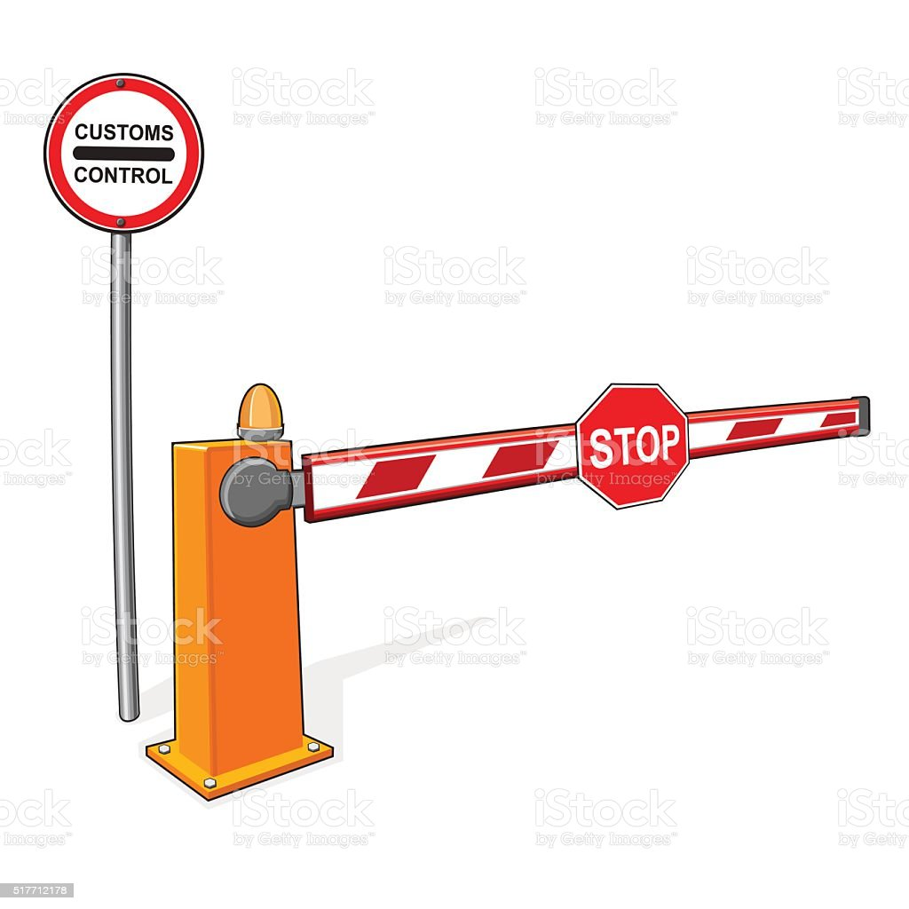 Customs control sign,  stop sign, barrier. vector art illustration