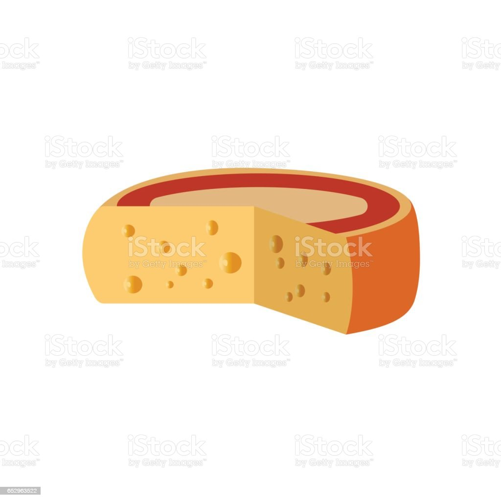 Cut cheese wheel vector art illustration