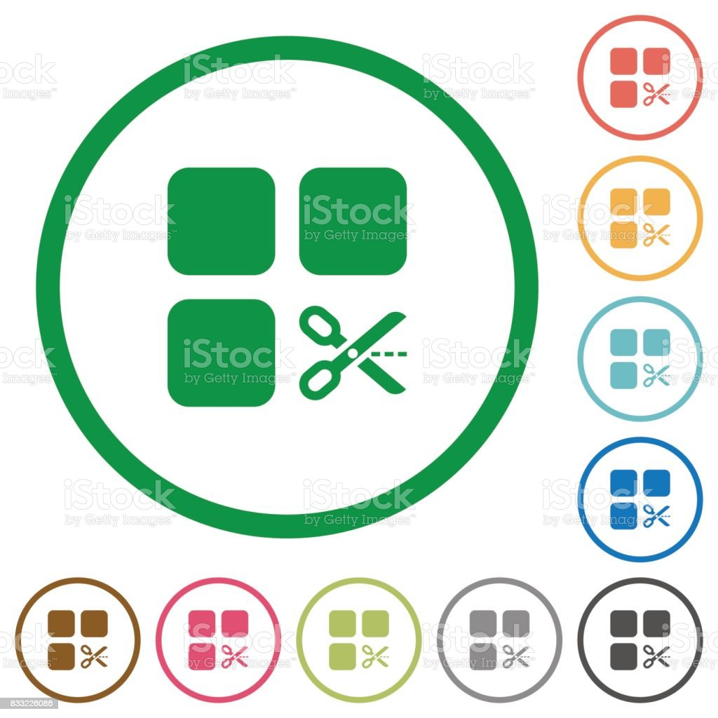 Cut component flat icons with outlines vector art illustration