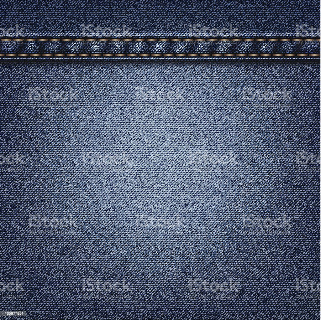 A cut of blue colored denim with orange lines sowed in vector art illustration
