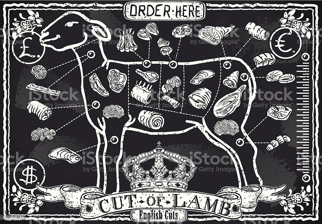 Cut of Lamb on Vintage Blackboard vector art illustration
