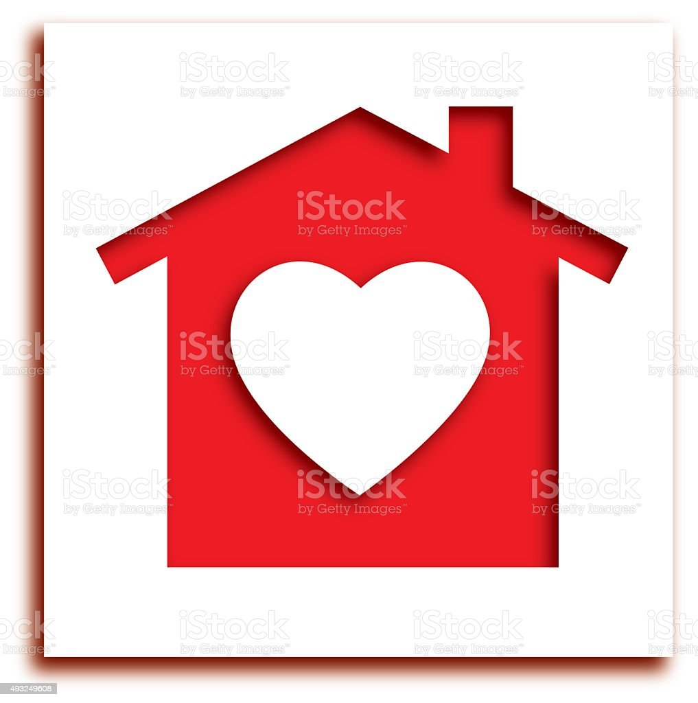 Cut Out Heart House Icon vector art illustration