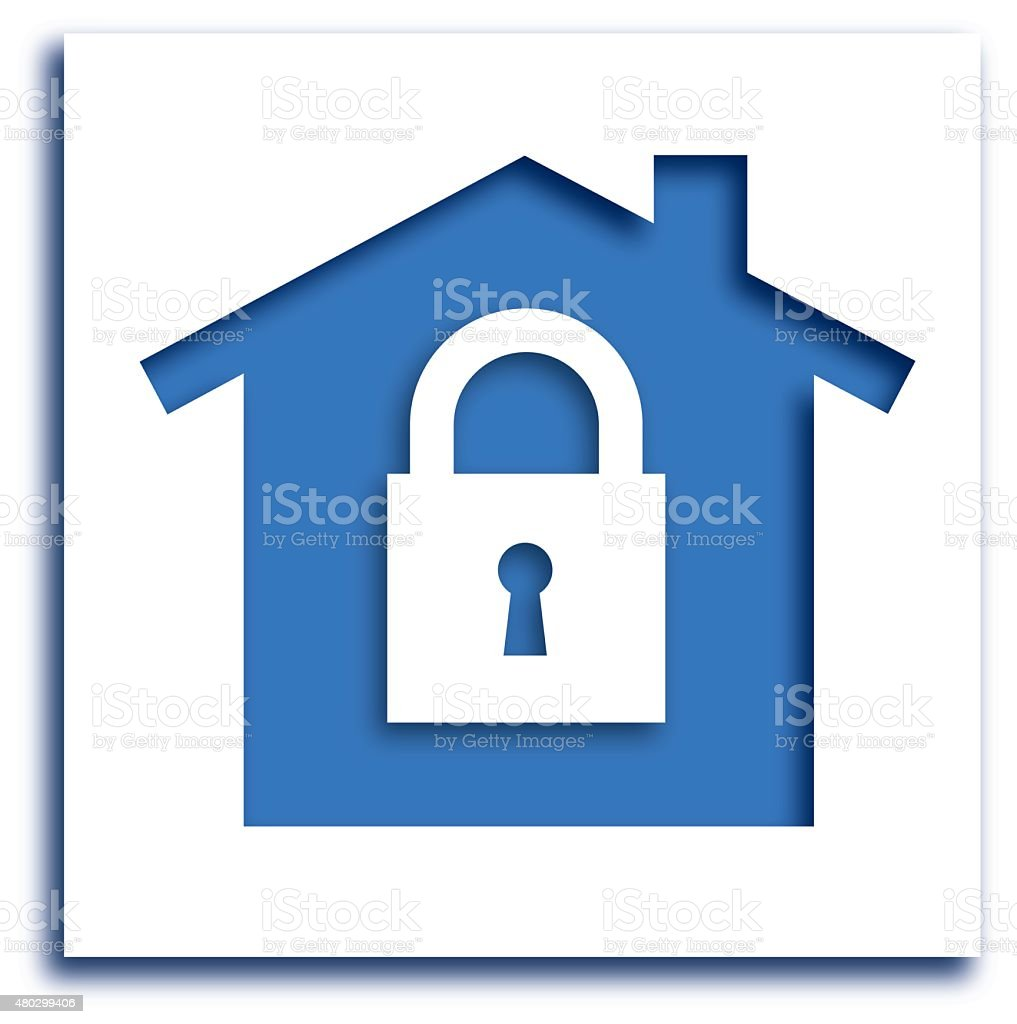 Cut Out Lock House icon vector art illustration
