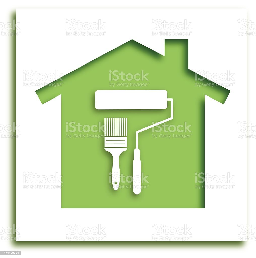 Cut Out PaintBrush House Icon vector art illustration