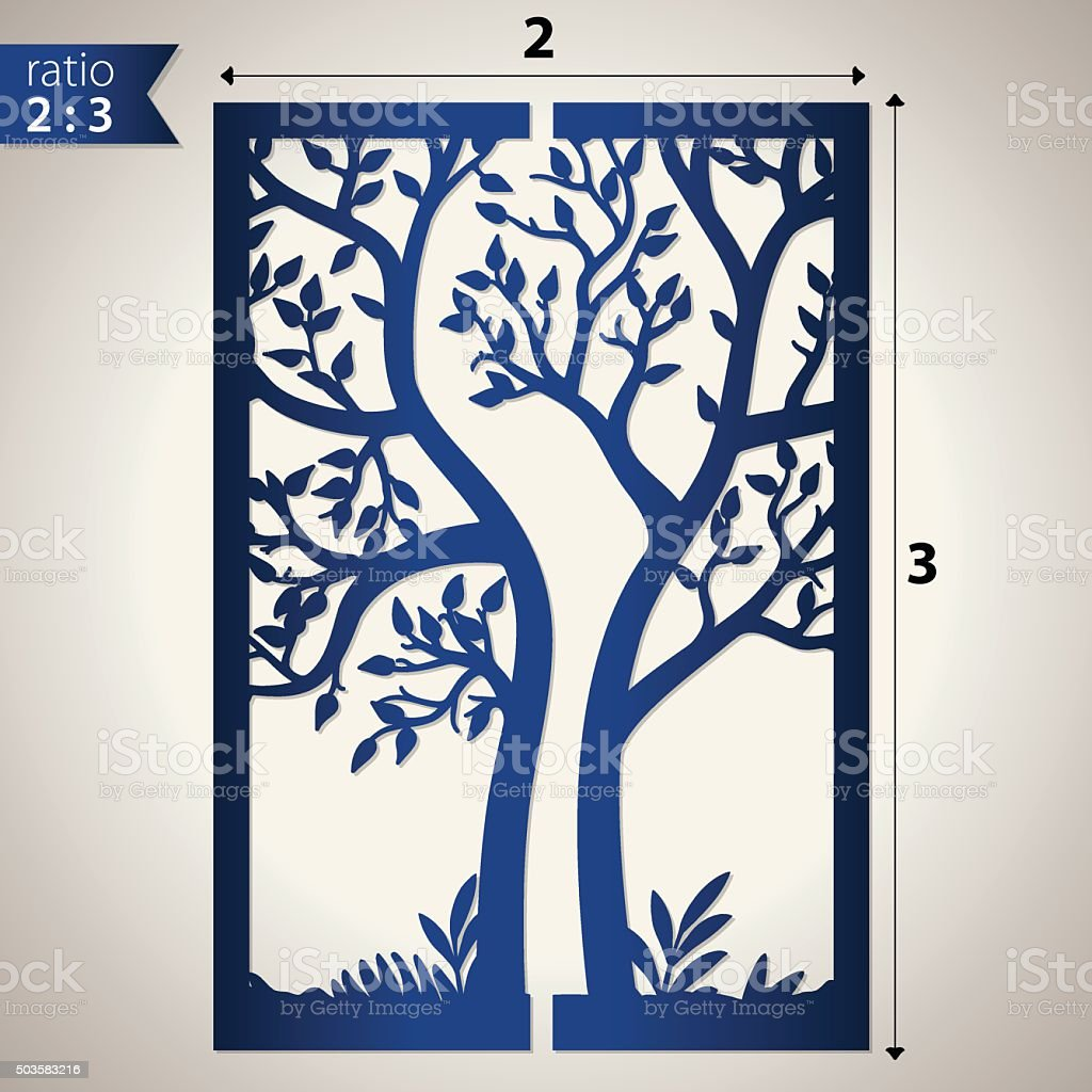 Cut out paper card with tree vector art illustration