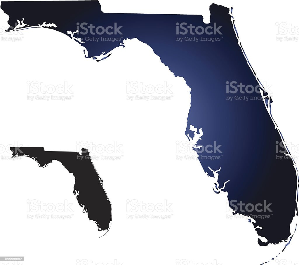 Cut out shape of the state of Florida on neutral background royalty-free stock vector art