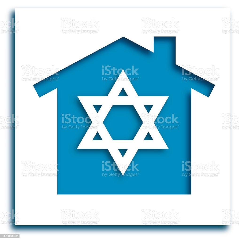 Cut Out Star Of David House Icon vector art illustration