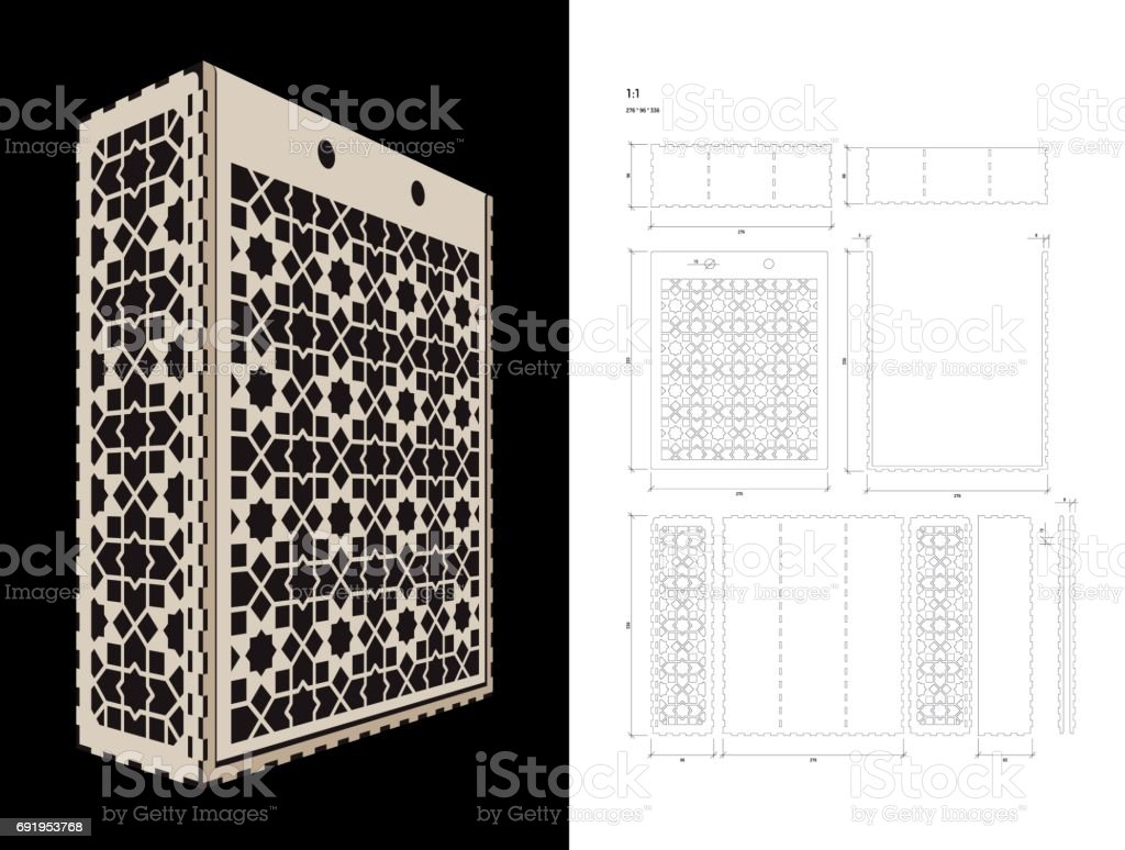 Cut out template for Wine Box vector art illustration
