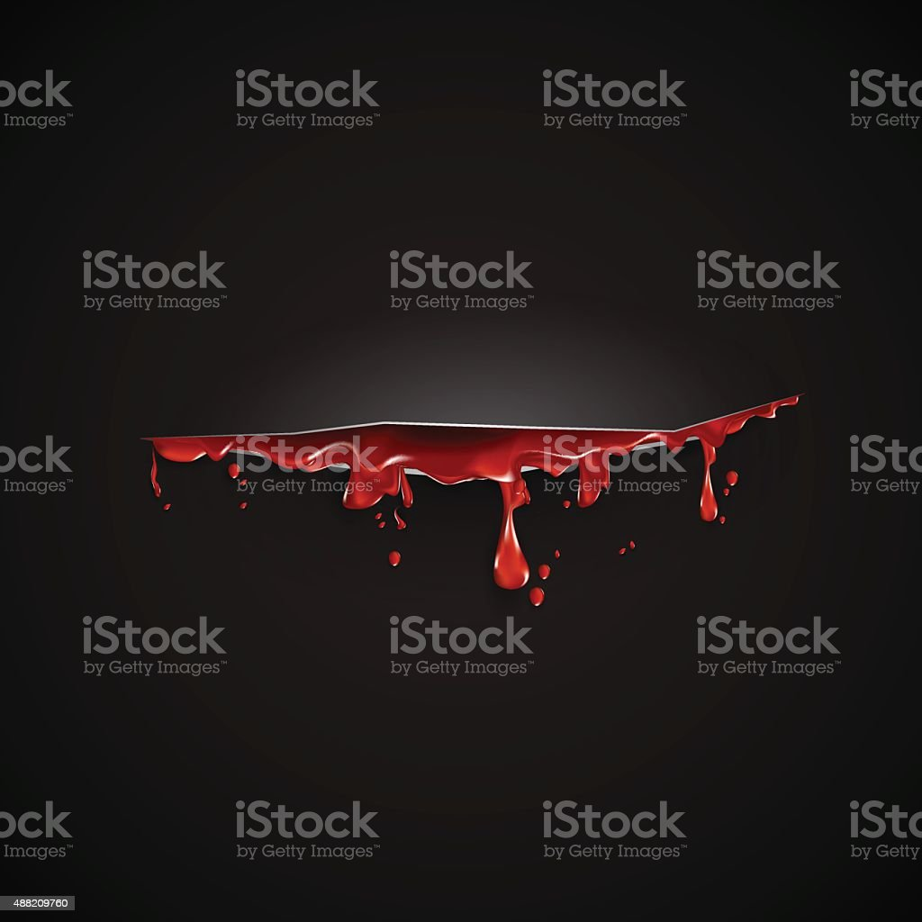 cut with th blood template. Black background vector art illustration