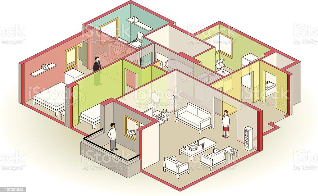 cutaway apartment vector art illustration