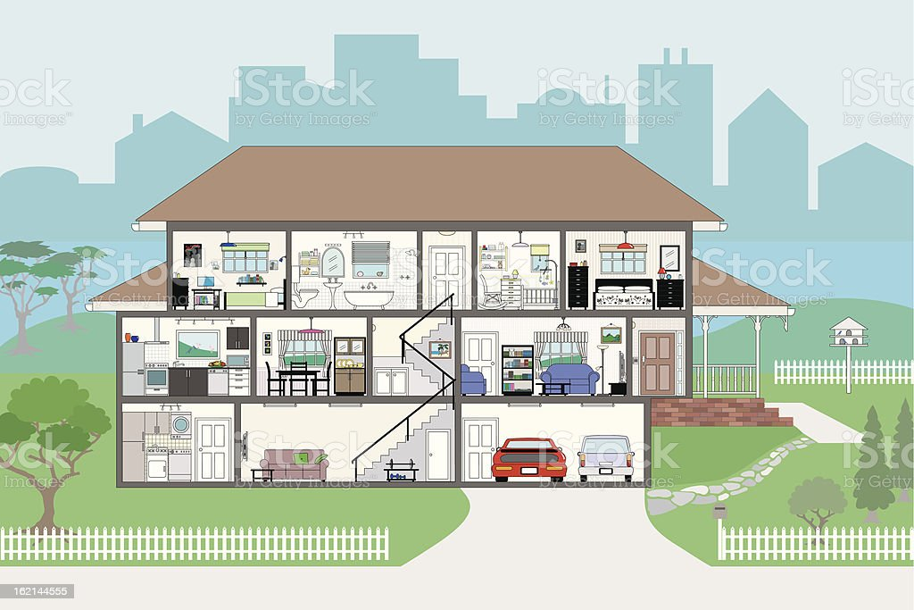 Cutaway House with Highly Detailed Rooms EPS8 vector art illustration