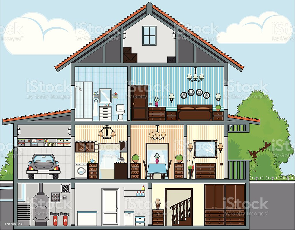 Cutaway of house vector art illustration