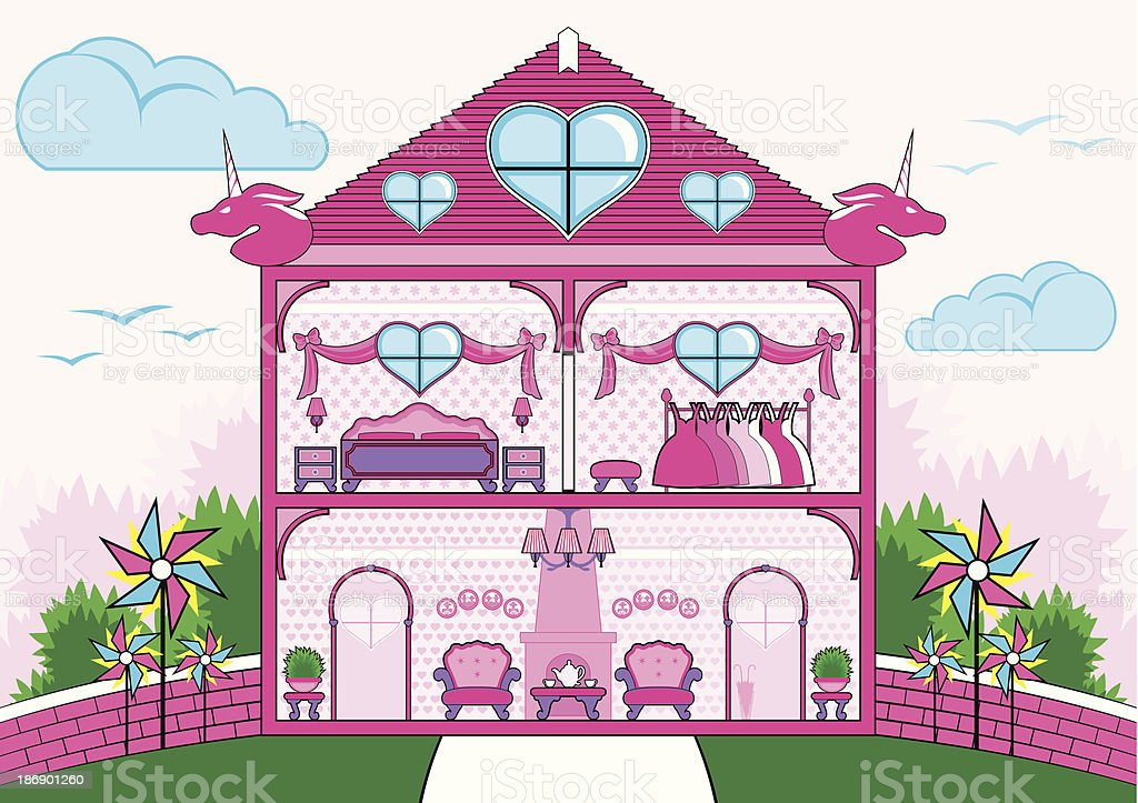 Cutaway of pink house with furniture royalty-free stock vector art