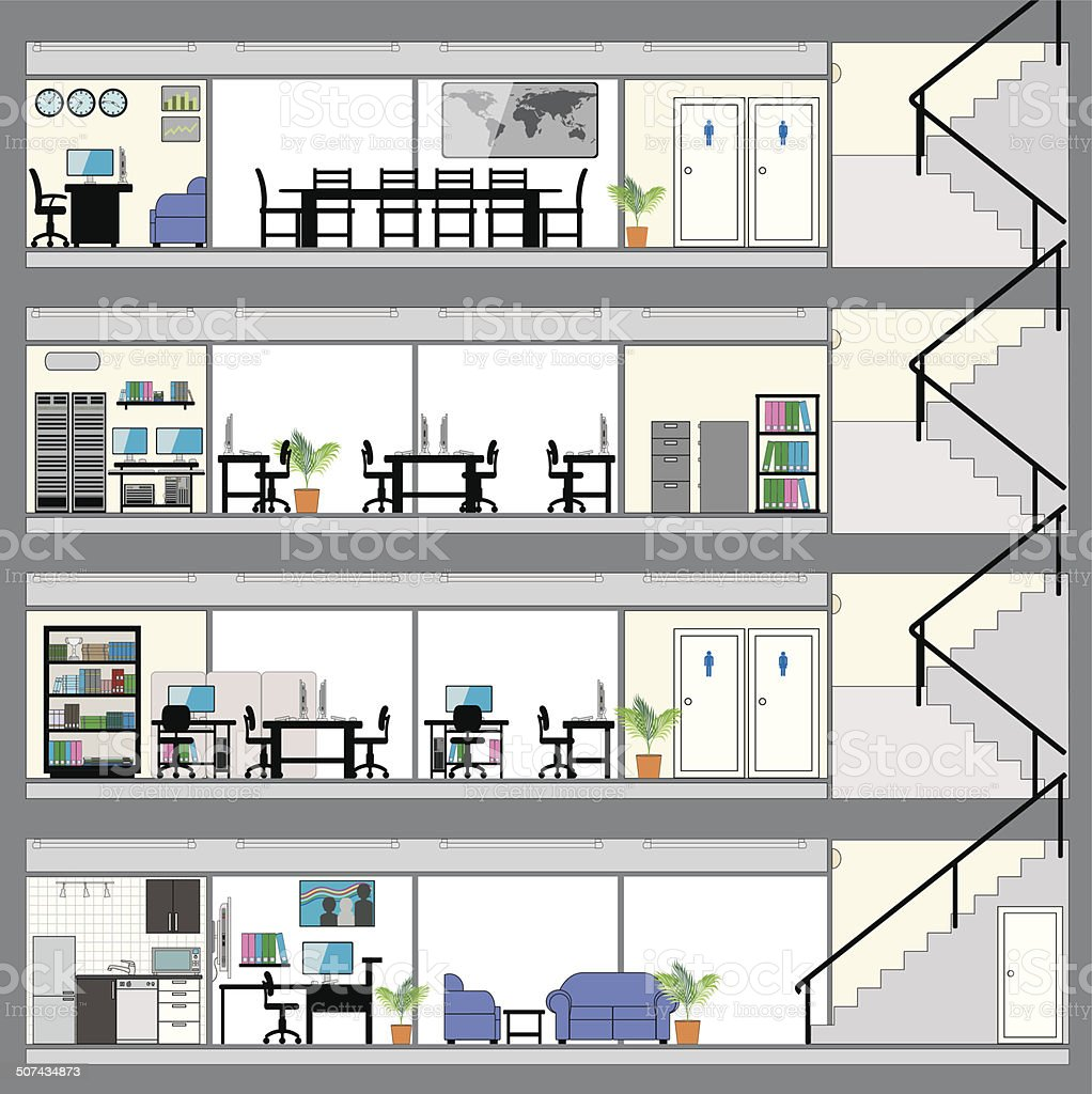 Cutaway Office Building with Interior Design Plan vector art illustration