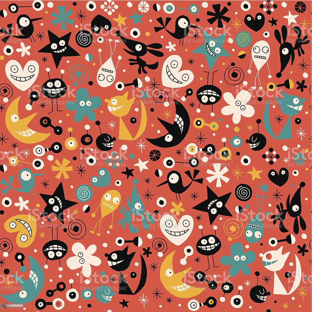Cute abstract characters seamless pattern royalty-free stock vector art