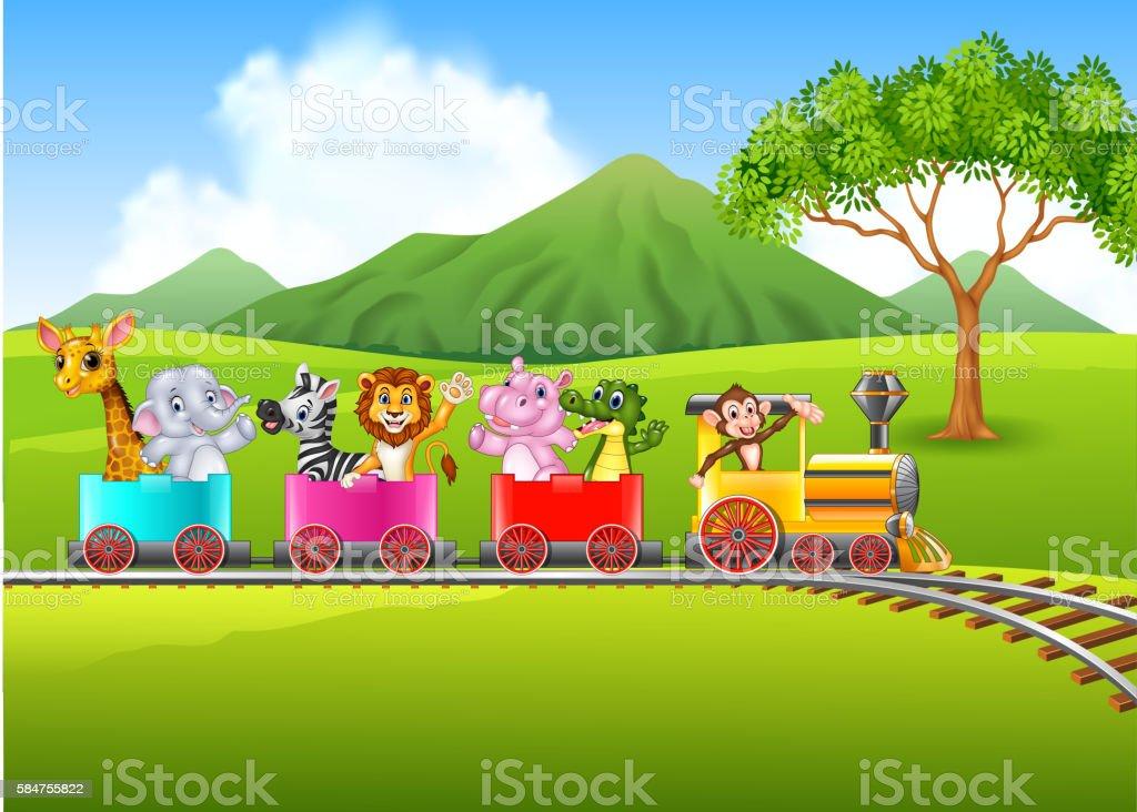 Cute africa animal on train vector art illustration