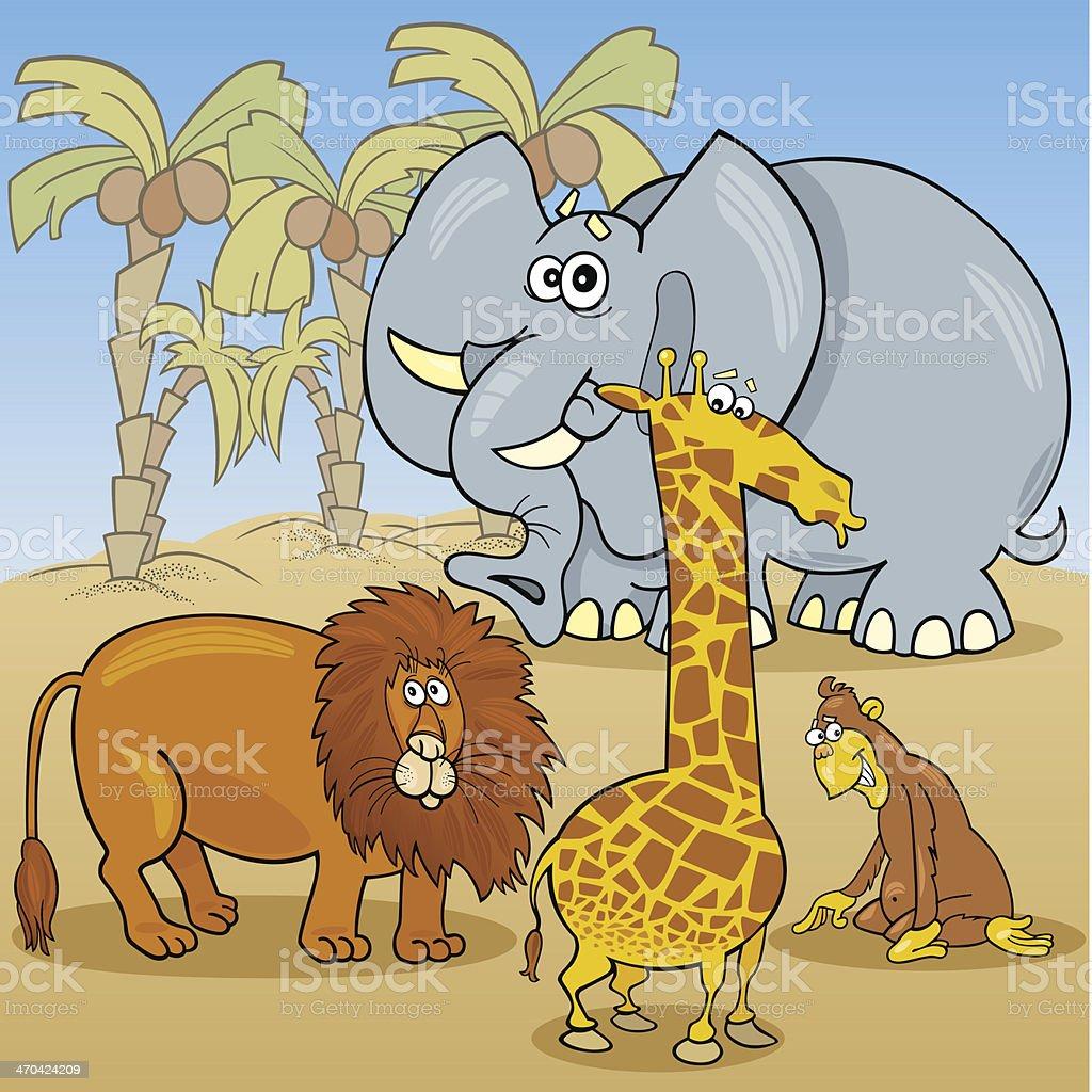 cute african animals cartoon illustration royalty-free stock vector art