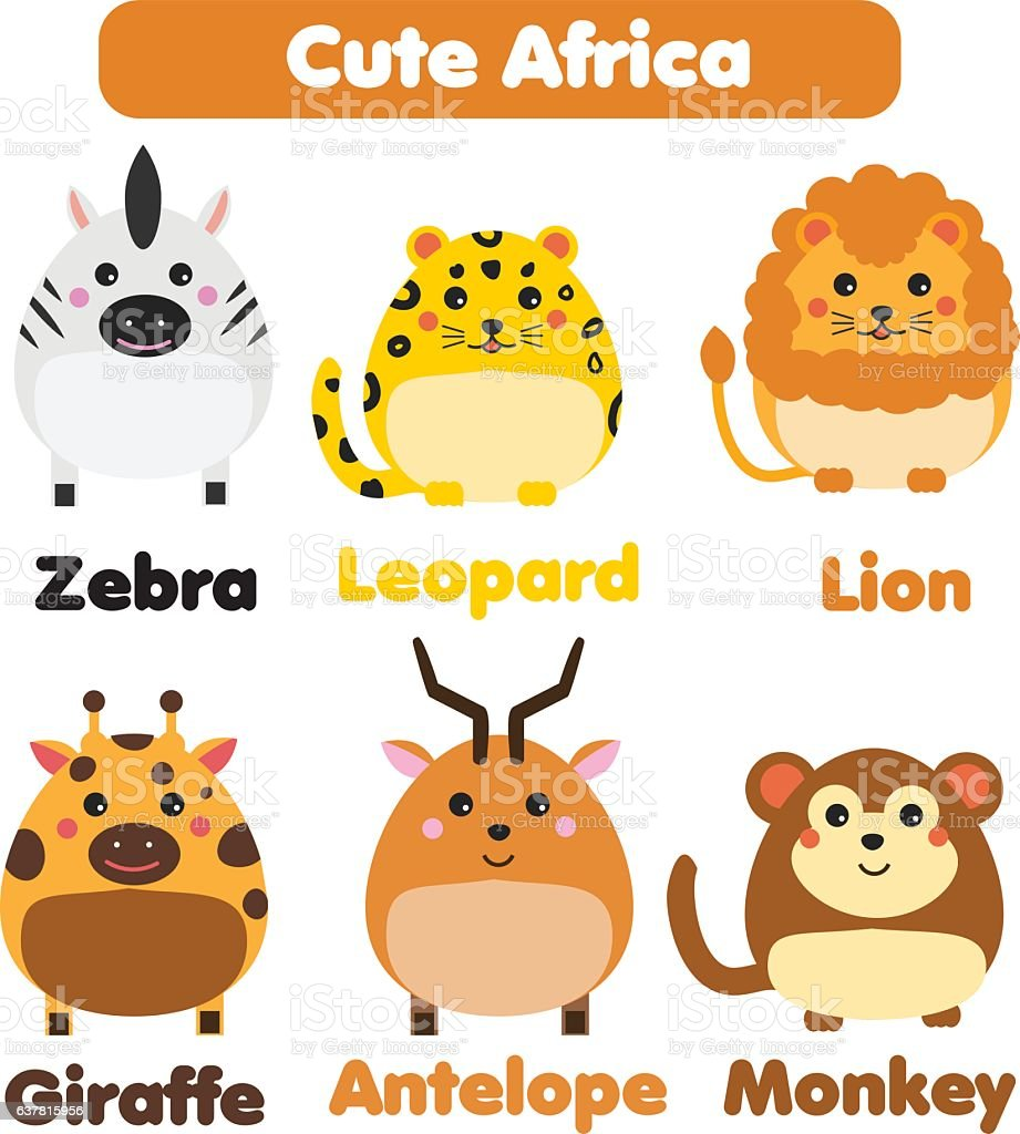 Cute african animals wildlife set. vector illustration vector art illustration