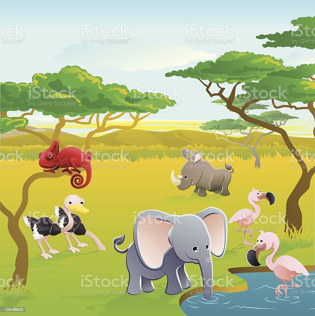 Cute African safari animal cartoon scene vector art illustration
