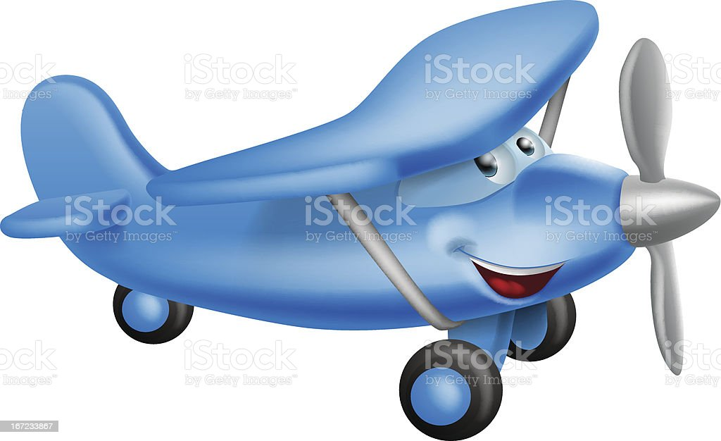 Cute airplane cartoon character royalty-free stock vector art