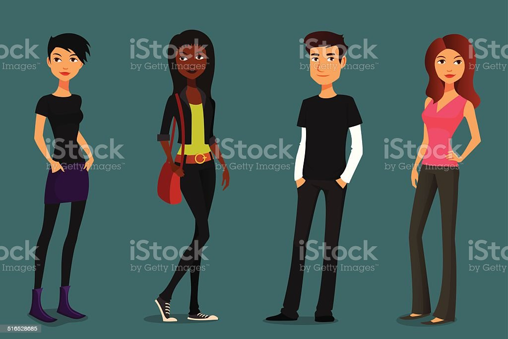 cute and colorful cartoon people vector art illustration