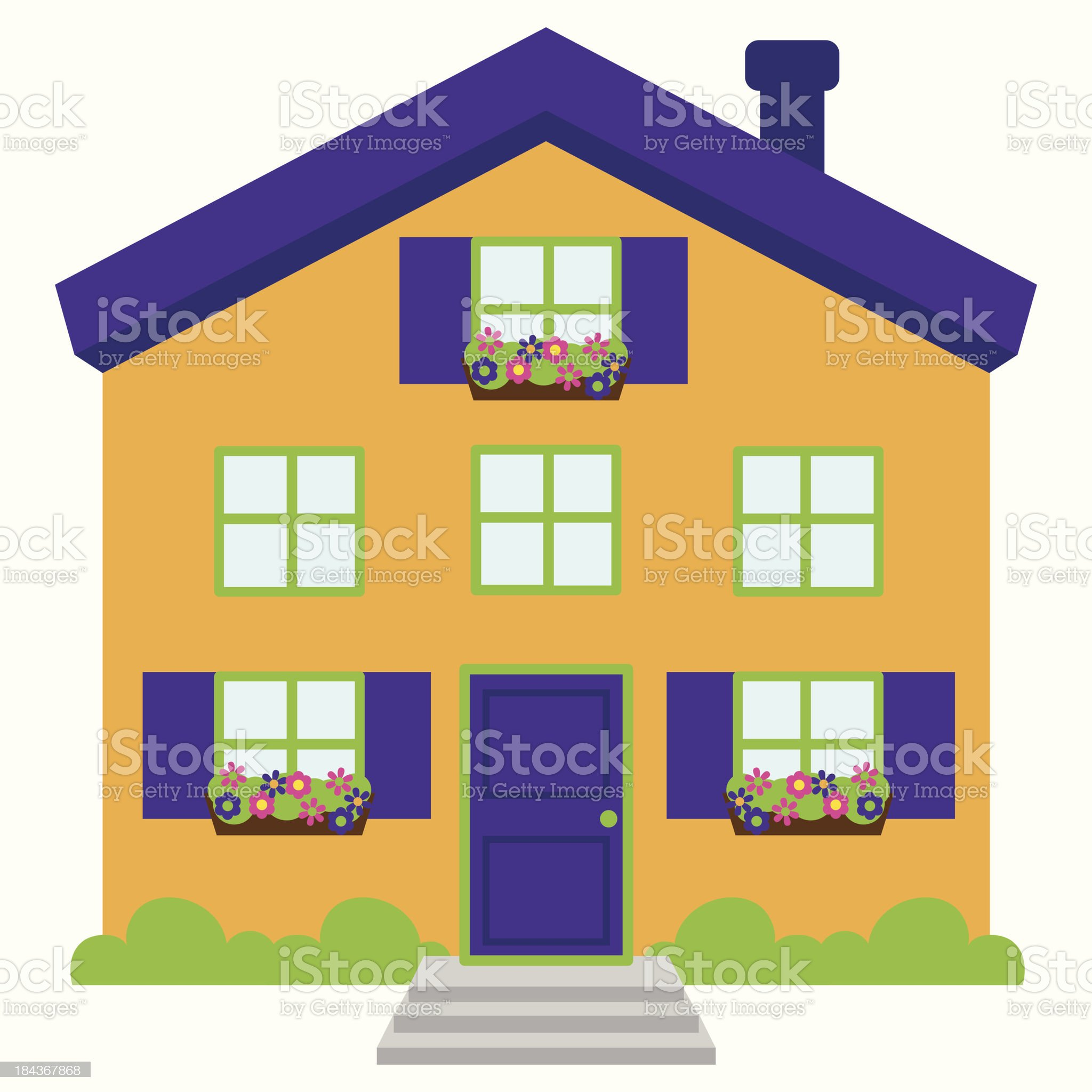 Cute and Colorful Isolated Vector Home royalty-free stock vector art