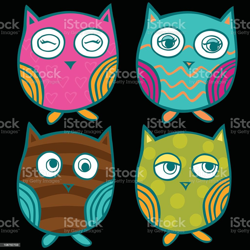 Cute and Colorful Owls royalty-free stock vector art