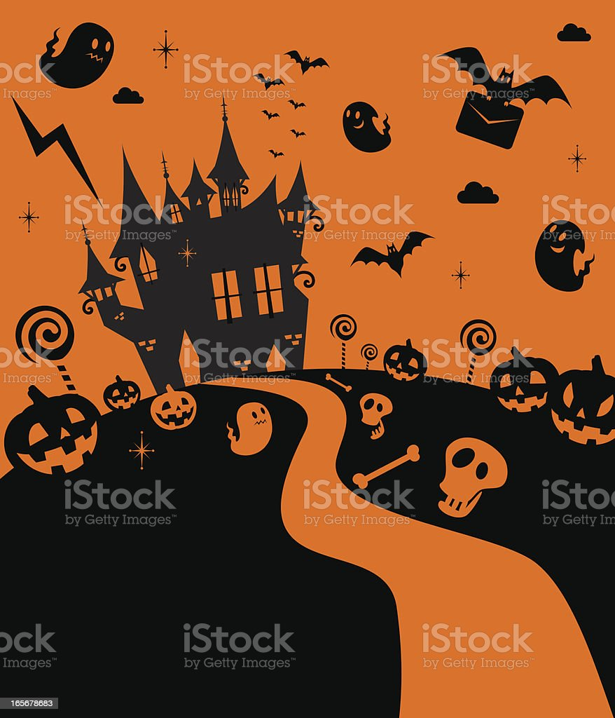Cute And Cool Halloween Haunted House, Castle royalty-free stock vector art