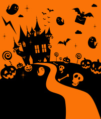 Cute And Cool Halloween Haunted House, Castle vector art illustration