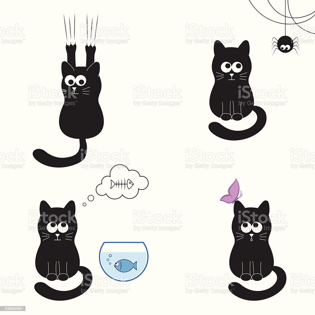 Cute and funny black cat collection royalty-free stock vector art