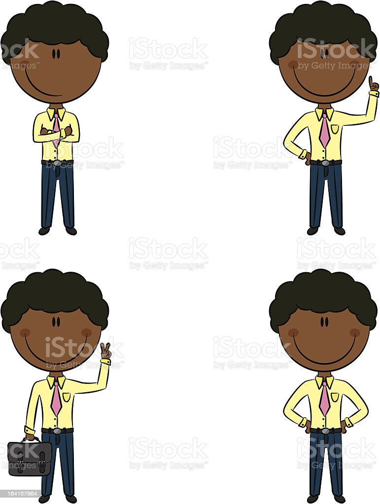 Cute and funny cartoon African-American businessmen royalty-free stock vector art