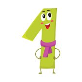 Cute and funny colorful 1 number characters, birthday greetings
