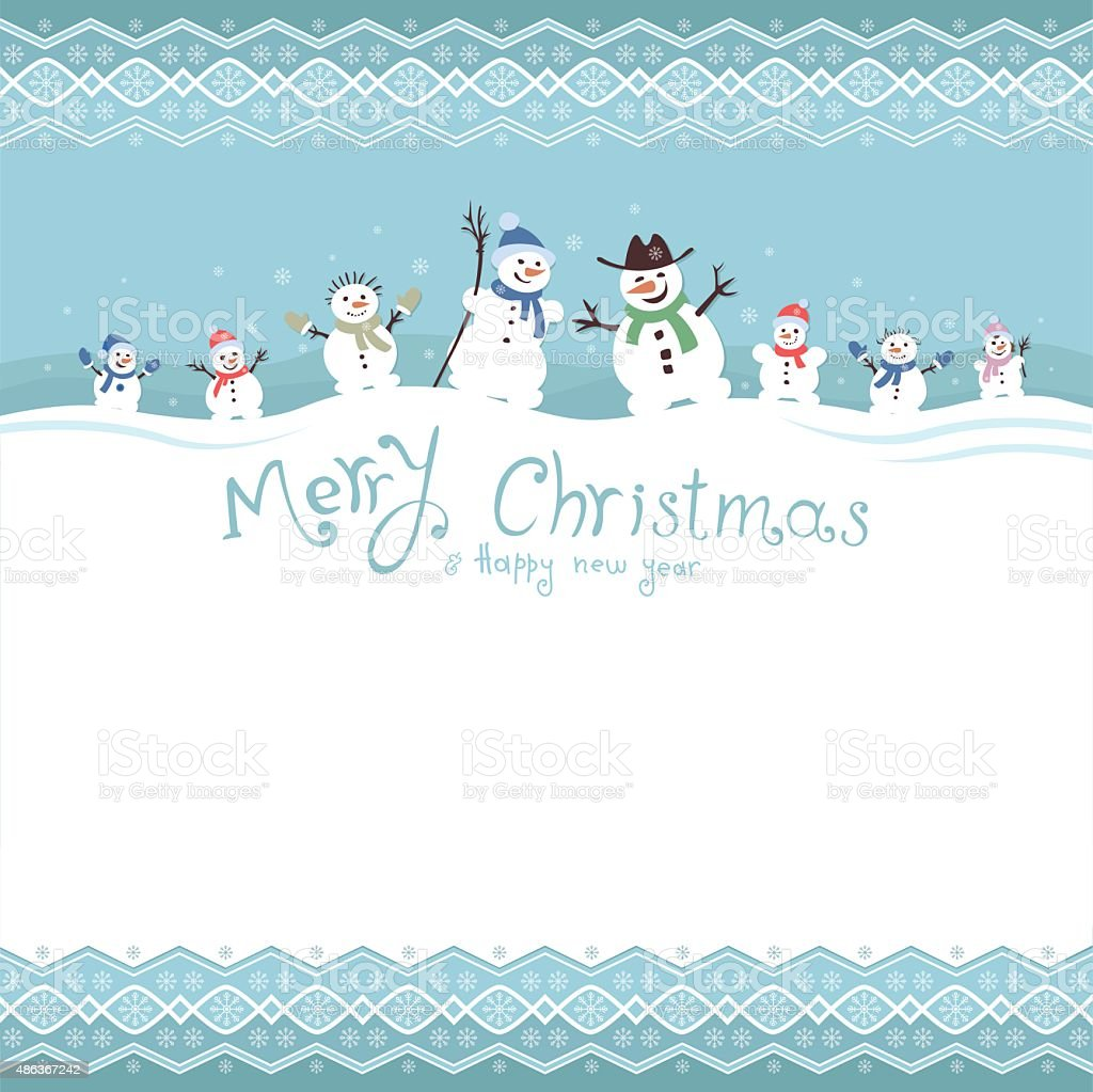Cute and funny snowmen. Template Christmas cards. vector illustrations vector art illustration
