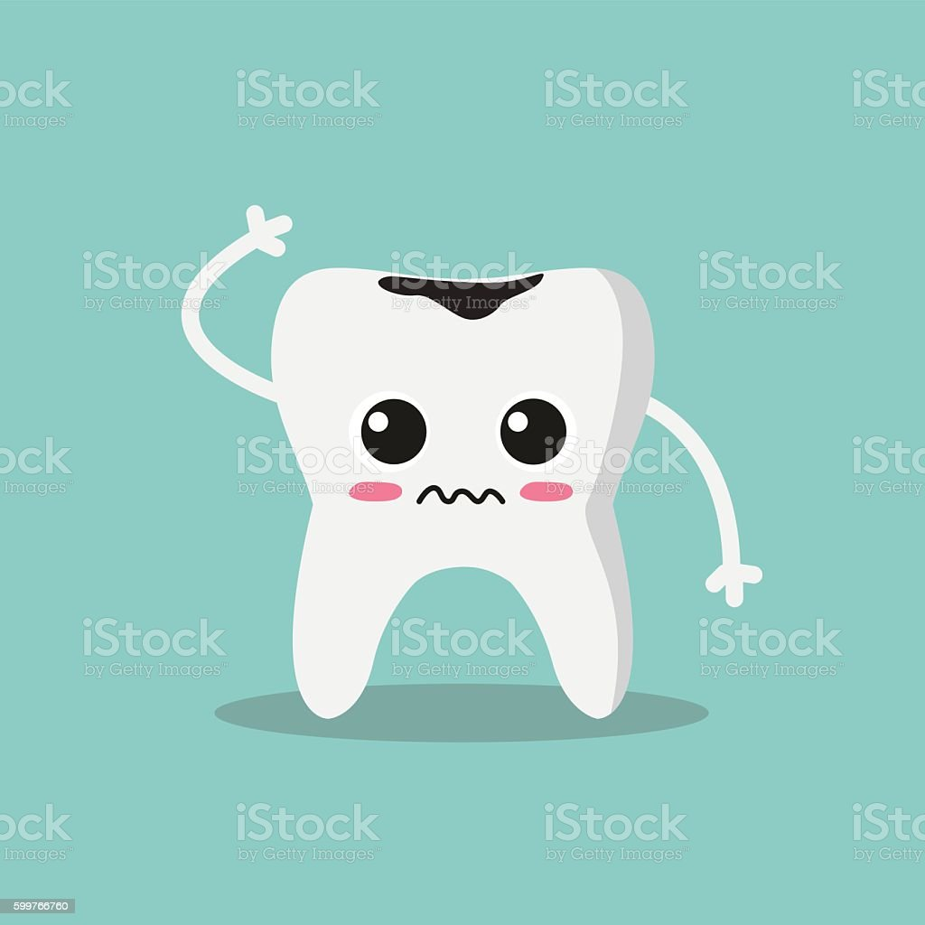 Cute and funny tooth vector art illustration