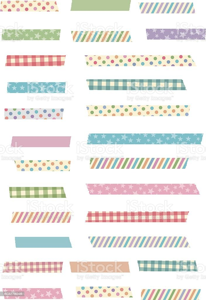 Cute and girly masking tape set vector art illustration