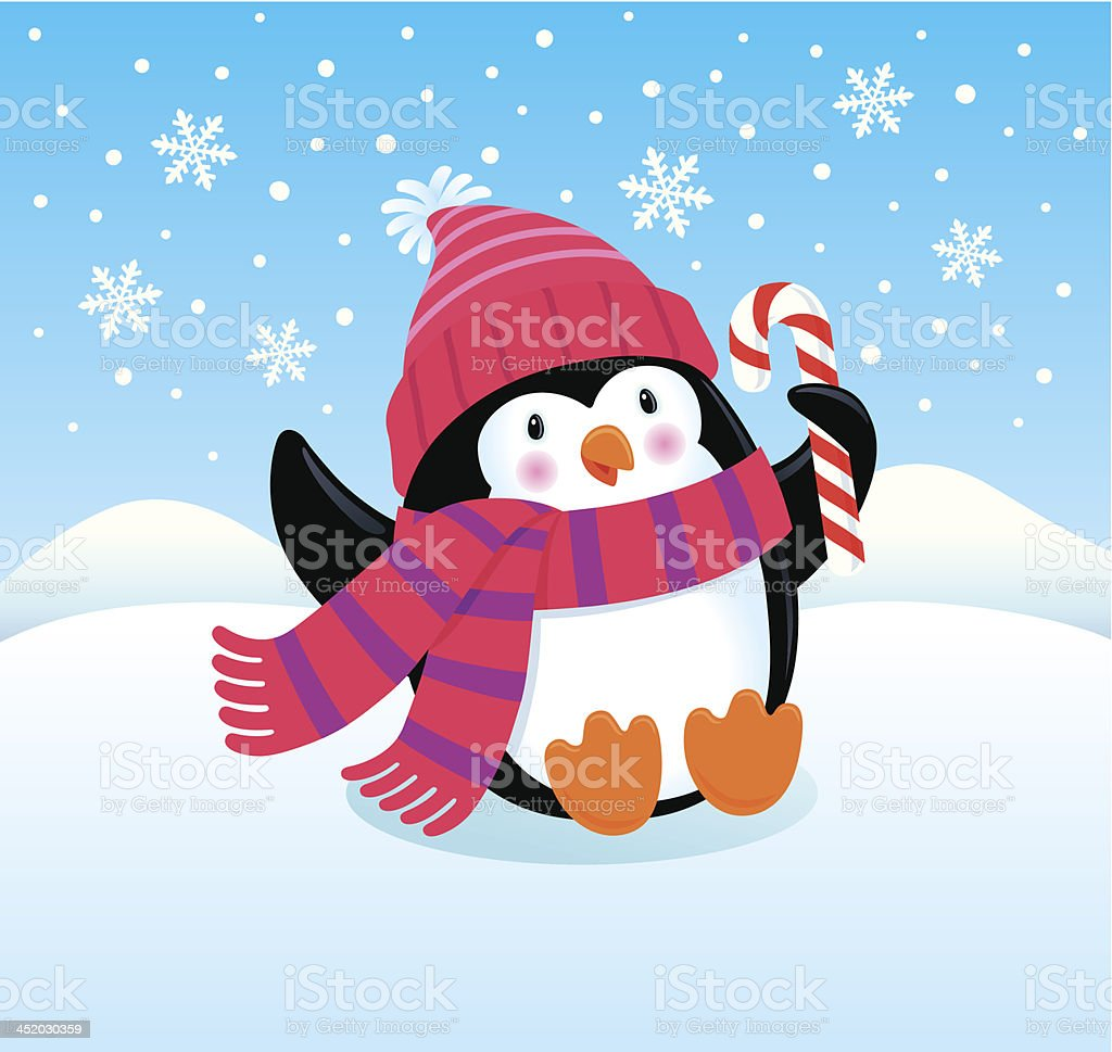 Cute and Happy Penguin vector art illustration