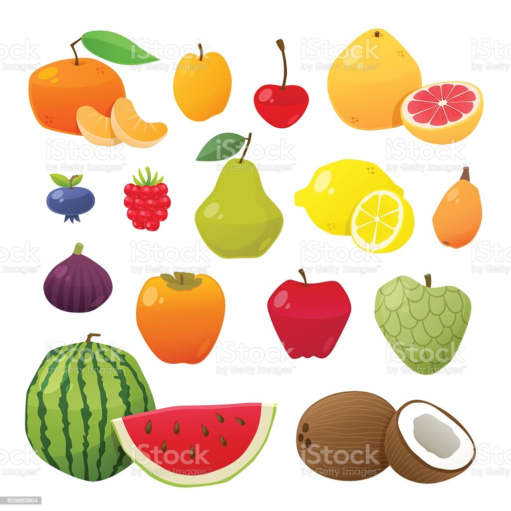 Cute and tasty fruits collection. Vector illustration. vector art illustration