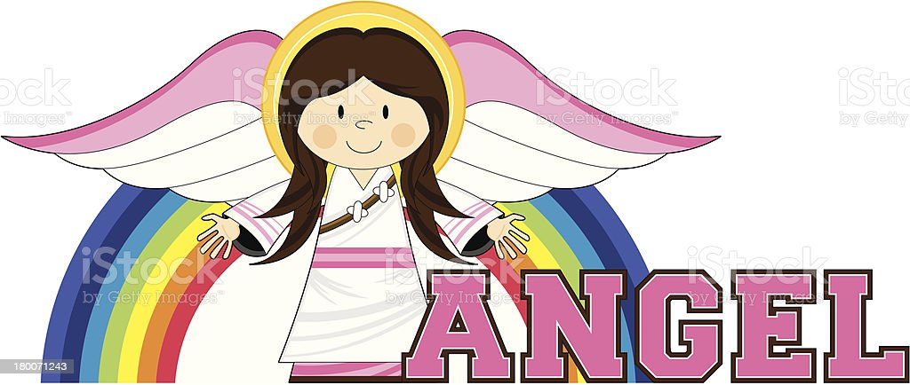 Cute Angel Learn to Read Illustration royalty-free stock vector art