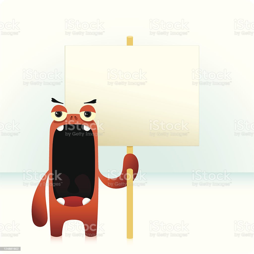 Cute Angry Character Holding An Empty Banner Sign royalty-free stock vector art