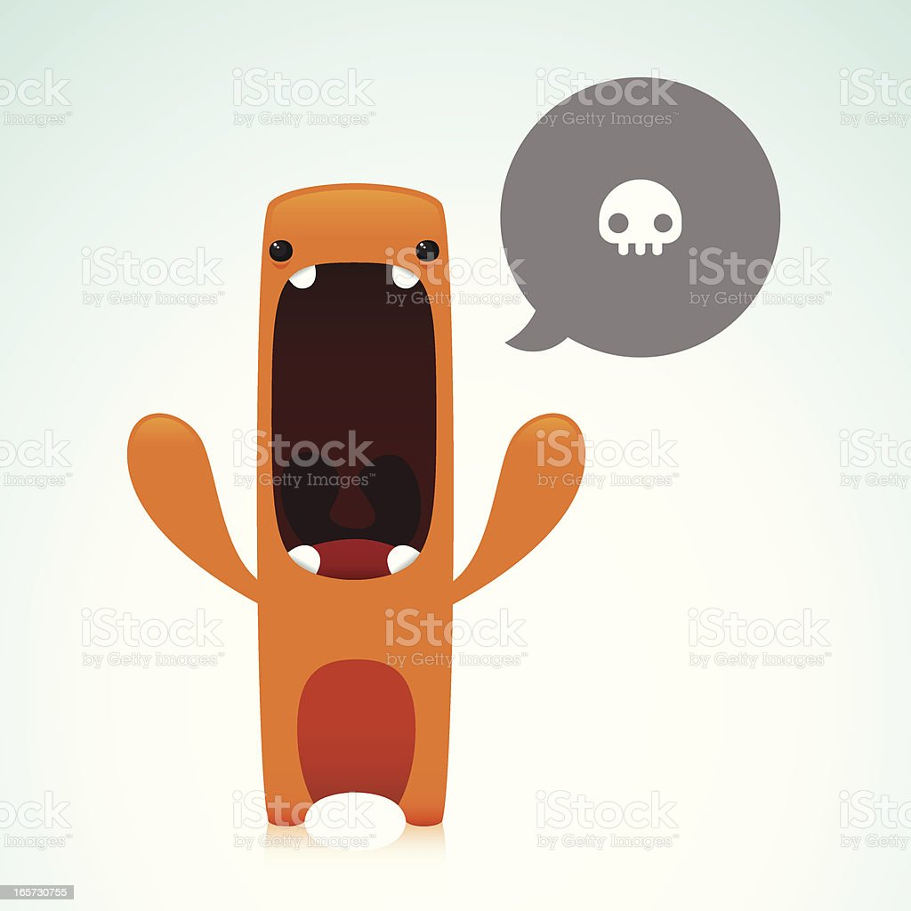 Cute Angry Character With Swear Word royalty-free stock vector art