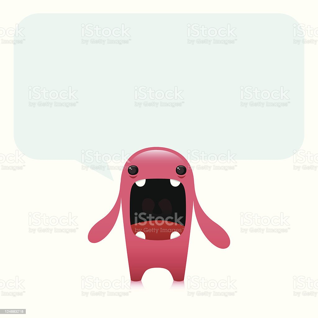 Cute Angry Vector Character With Empty Speech Bubble royalty-free stock vector art
