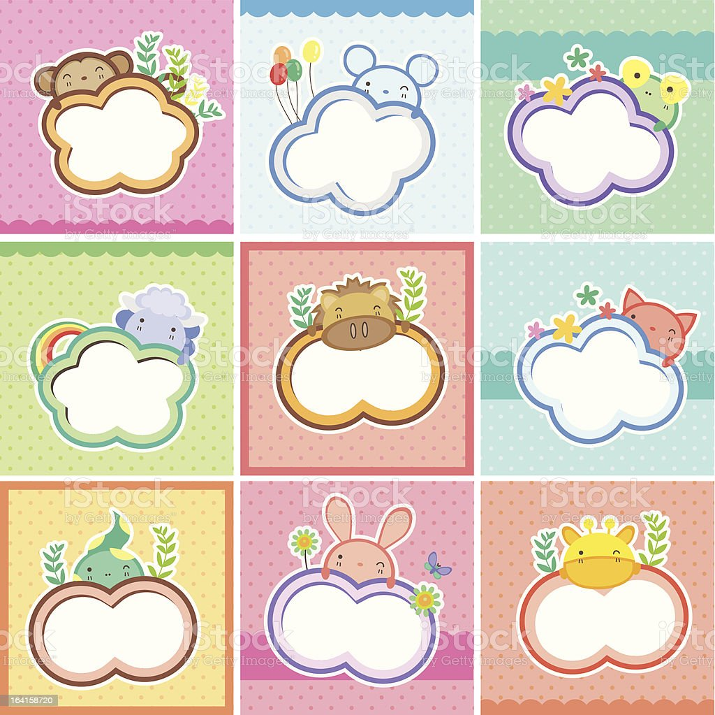 cute animal cards collection royalty-free stock vector art