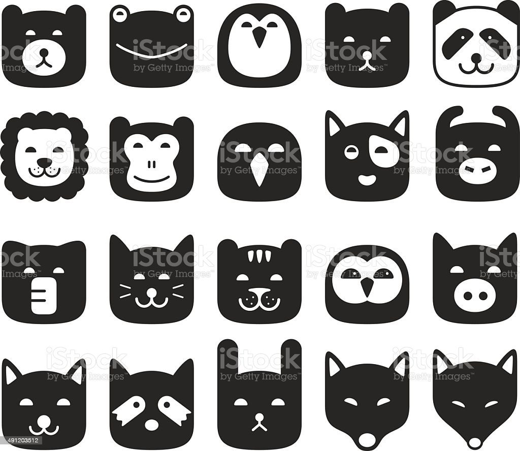 cute animal face flat icon set, vector illustration vector art illustration