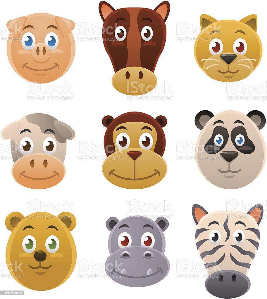 Cute Animal Faces royalty-free stock vector art