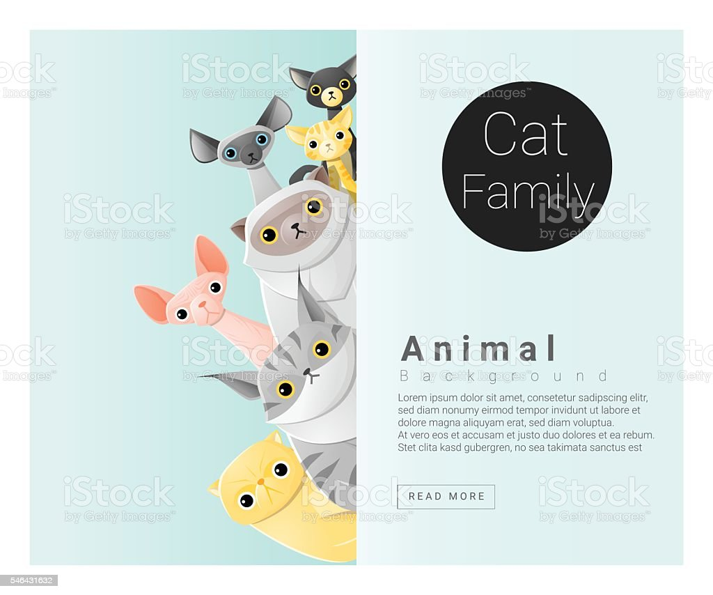 Cute animal family background with Cats 2 vector art illustration
